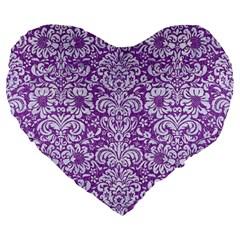 DAMASK2 WHITE MARBLE & PURPLE DENIM Large 19  Premium Heart Shape Cushions