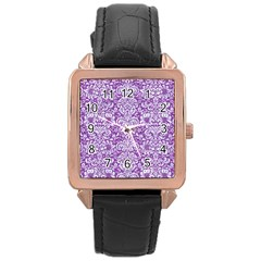 Damask2 White Marble & Purple Denim Rose Gold Leather Watch  by trendistuff