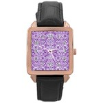 DAMASK2 WHITE MARBLE & PURPLE DENIM Rose Gold Leather Watch  Front