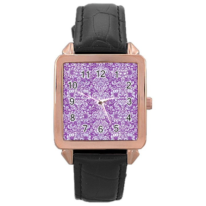 DAMASK2 WHITE MARBLE & PURPLE DENIM Rose Gold Leather Watch