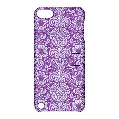 Damask2 White Marble & Purple Denim Apple Ipod Touch 5 Hardshell Case With Stand