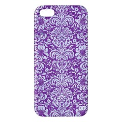 Damask2 White Marble & Purple Denim Apple Iphone 5 Premium Hardshell Case