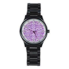 Damask2 White Marble & Purple Denim Stainless Steel Round Watch by trendistuff