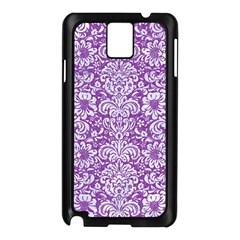 Damask2 White Marble & Purple Denim Samsung Galaxy Note 3 N9005 Case (black)