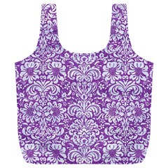 DAMASK2 WHITE MARBLE & PURPLE DENIM Full Print Recycle Bags (L)