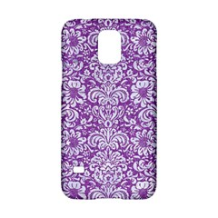Damask2 White Marble & Purple Denim Samsung Galaxy S5 Hardshell Case
