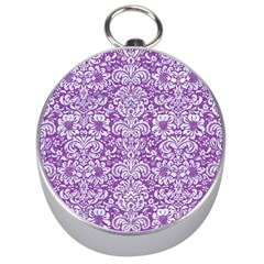 Damask2 White Marble & Purple Denim Silver Compasses