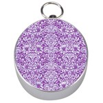 DAMASK2 WHITE MARBLE & PURPLE DENIM Silver Compasses Front