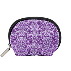 Damask2 White Marble & Purple Denim Accessory Pouches (small)