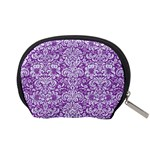 DAMASK2 WHITE MARBLE & PURPLE DENIM Accessory Pouches (Small)  Back