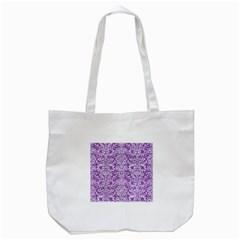 DAMASK2 WHITE MARBLE & PURPLE DENIM Tote Bag (White)
