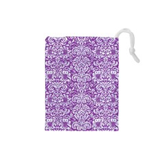 Damask2 White Marble & Purple Denim Drawstring Pouches (small)