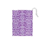 DAMASK2 WHITE MARBLE & PURPLE DENIM Drawstring Pouches (Small)  Front