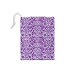 DAMASK2 WHITE MARBLE & PURPLE DENIM Drawstring Pouches (Small)  Back