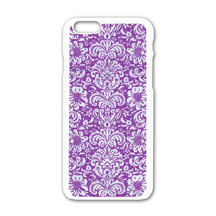 DAMASK2 WHITE MARBLE & PURPLE DENIM Apple iPhone 6/6S White Enamel Case