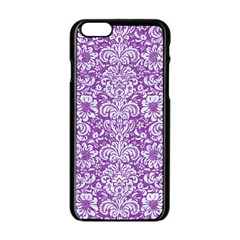 Damask2 White Marble & Purple Denim Apple Iphone 6/6s Black Enamel Case
