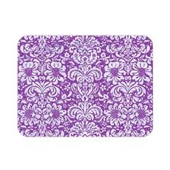 Damask2 White Marble & Purple Denim Double Sided Flano Blanket (mini)