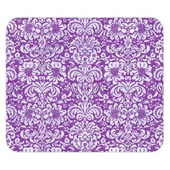 Damask2 White Marble & Purple Denim Double Sided Flano Blanket (small)