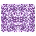 DAMASK2 WHITE MARBLE & PURPLE DENIM Double Sided Flano Blanket (Small)  50 x40 Blanket Back