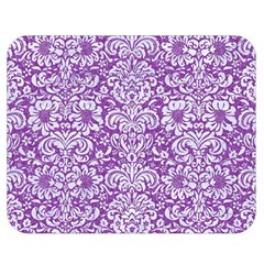 Damask2 White Marble & Purple Denim Double Sided Flano Blanket (medium)