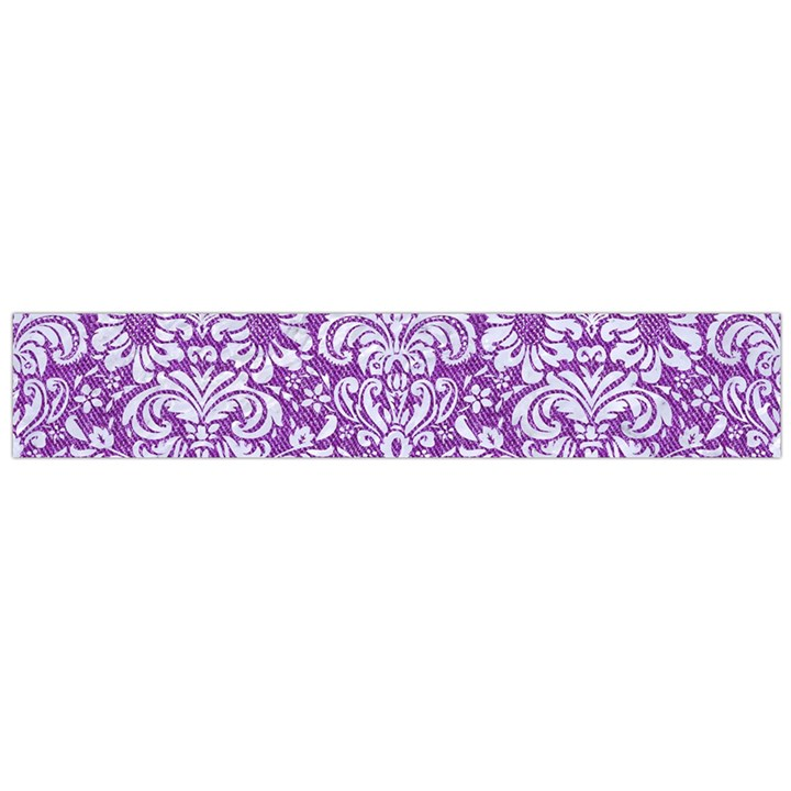DAMASK2 WHITE MARBLE & PURPLE DENIM Large Flano Scarf