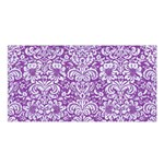 DAMASK2 WHITE MARBLE & PURPLE DENIM Satin Shawl Front