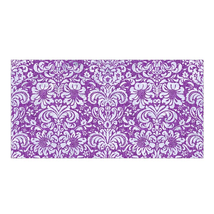 DAMASK2 WHITE MARBLE & PURPLE DENIM Satin Shawl