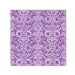 Damask2 White Marble & Purple Denim Small Satin Scarf (square) by trendistuff