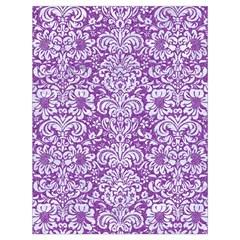 Damask2 White Marble & Purple Denim Drawstring Bag (large)