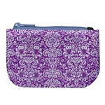 DAMASK2 WHITE MARBLE & PURPLE DENIM Large Coin Purse Front