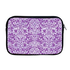 Damask2 White Marble & Purple Denim Apple Macbook Pro 17  Zipper Case