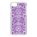 DAMASK2 WHITE MARBLE & PURPLE DENIM Apple iPhone 8 Seamless Case (White) Front