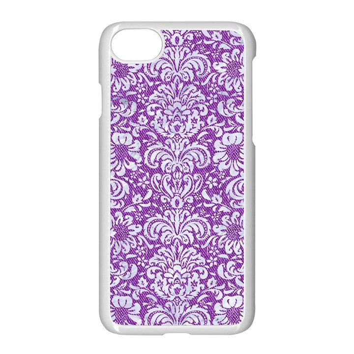 DAMASK2 WHITE MARBLE & PURPLE DENIM Apple iPhone 8 Seamless Case (White)
