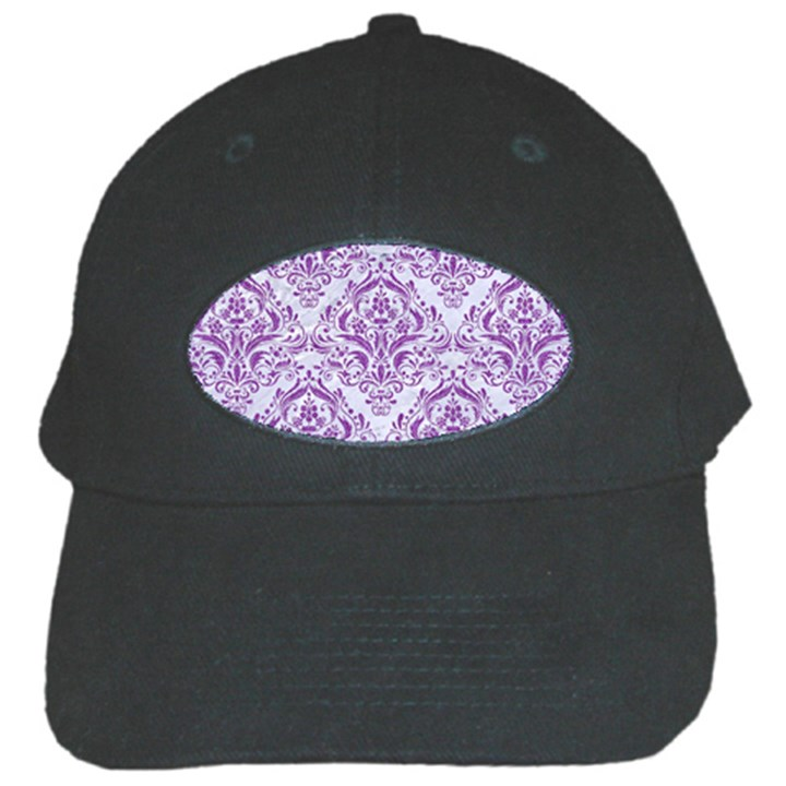 DAMASK1 WHITE MARBLE & PURPLE DENIM (R) Black Cap
