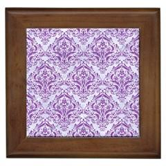 DAMASK1 WHITE MARBLE & PURPLE DENIM (R) Framed Tiles