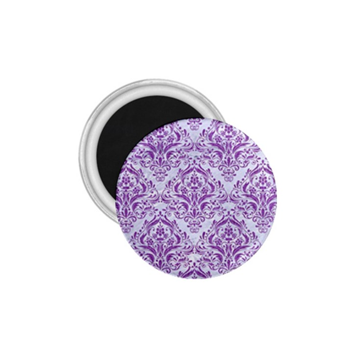 DAMASK1 WHITE MARBLE & PURPLE DENIM (R) 1.75  Magnets