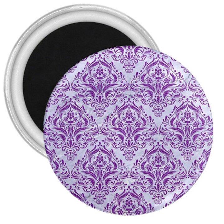 DAMASK1 WHITE MARBLE & PURPLE DENIM (R) 3  Magnets