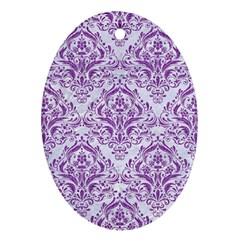 Damask1 White Marble & Purple Denim (r) Ornament (oval)