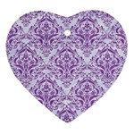 DAMASK1 WHITE MARBLE & PURPLE DENIM (R) Ornament (Heart) Front