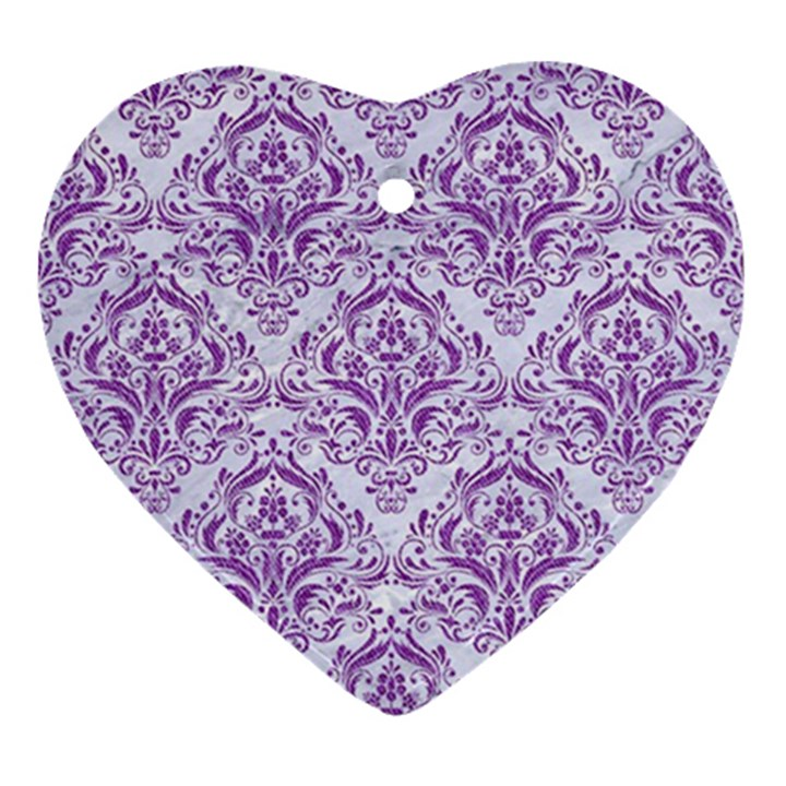 DAMASK1 WHITE MARBLE & PURPLE DENIM (R) Ornament (Heart)
