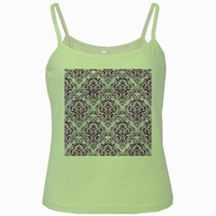 Damask1 White Marble & Purple Denim (r) Green Spaghetti Tank