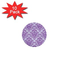 Damask1 White Marble & Purple Denim (r) 1  Mini Buttons (10 Pack)