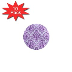 Damask1 White Marble & Purple Denim (r) 1  Mini Magnet (10 Pack)