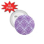 DAMASK1 WHITE MARBLE & PURPLE DENIM (R) 1.75  Buttons (10 pack) Front