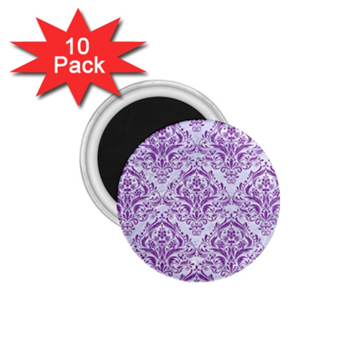 DAMASK1 WHITE MARBLE & PURPLE DENIM (R) 1.75  Magnets (10 pack)