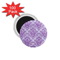 Damask1 White Marble & Purple Denim (r) 1 75  Magnets (100 Pack)