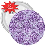 DAMASK1 WHITE MARBLE & PURPLE DENIM (R) 3  Buttons (10 pack)  Front