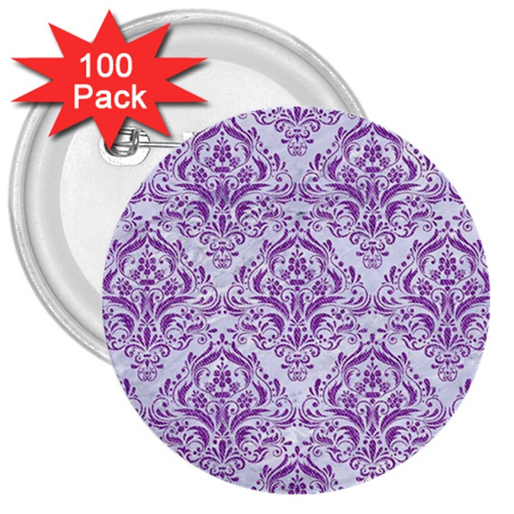 DAMASK1 WHITE MARBLE & PURPLE DENIM (R) 3  Buttons (100 pack)