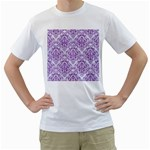 DAMASK1 WHITE MARBLE & PURPLE DENIM (R) Men s T-Shirt (White) (Two Sided) Front