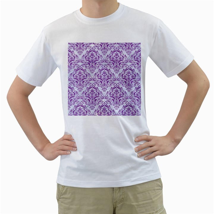 DAMASK1 WHITE MARBLE & PURPLE DENIM (R) Men s T-Shirt (White) (Two Sided)